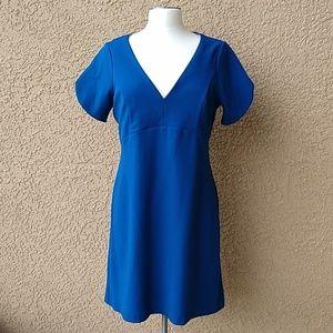 Betsey Johnson Women's Royal Crepe V-neck Dress